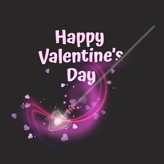 魔法の杖でバレンタインデーのグリーティング カード。