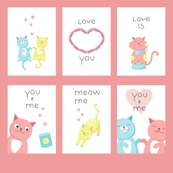 Valentine day greeting cards with cats in love, hearts, lettering calligraphy text. vector hand drawn illustration.