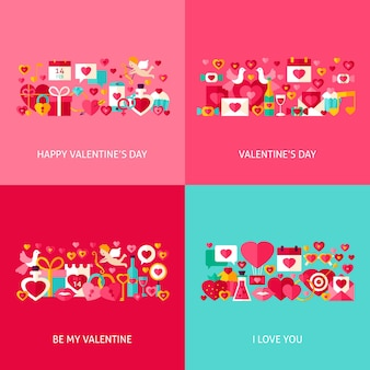 Valentine day greeting set. flat design vector illustration. collection of love holiday posters.