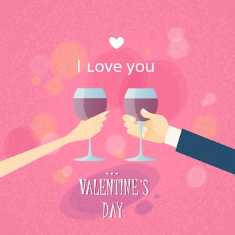 Valentine day greeting toast two hands hold glasses wine