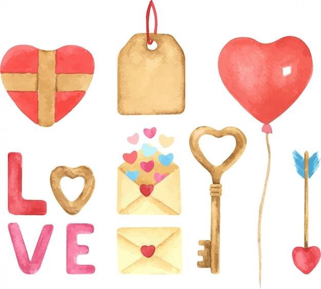 バレンタインの日手描き水彩イラストセット。風船、ハート、プレゼント、レタリング、手紙。