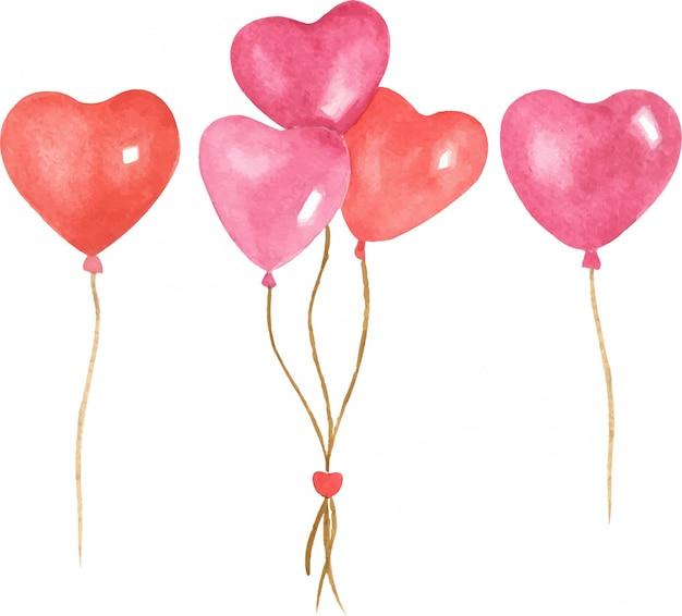 バレンタインの日手描きハートイラスト風船の水彩イラストセット。明るい色、漫画のキャラクター、白い背景の上の孤立したオブジェクト。