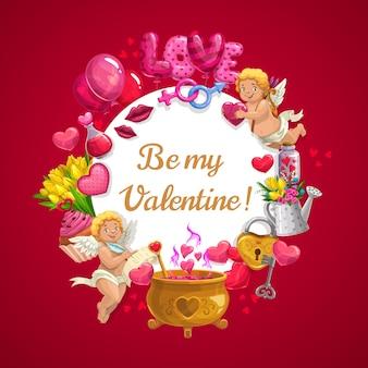 黄金の大釜で魔法の愛のポーションとバレンタインデーのハートの風船、花、キューピッドの天使