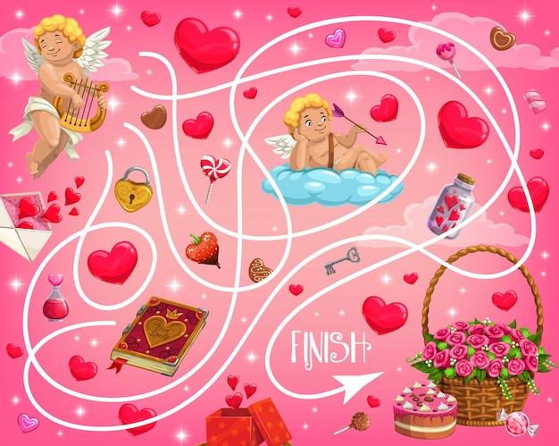 Праздничный лабиринт на день святого валентина для детей с херувимами и сердечками