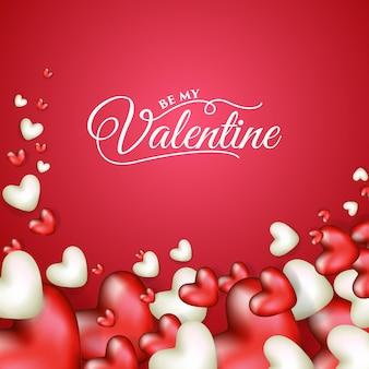リアルなハートの形をしたバレンタインデーのイラストデザイン