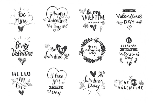 Valentine day labels, badges and icons, love greetings cards, typography design elements set