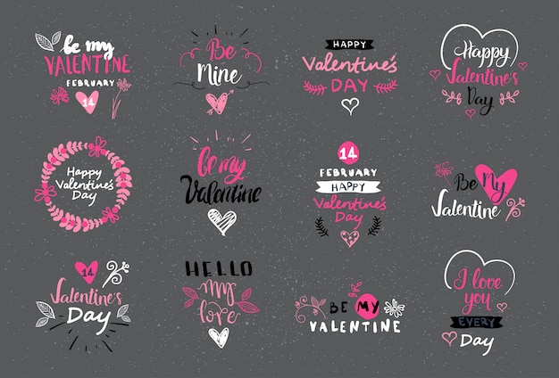 Valentine day lettering design set hand drawn logos, labels and stickers collection