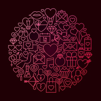 Valentine day line icon circle concept. vector illustration of love wedding objects.