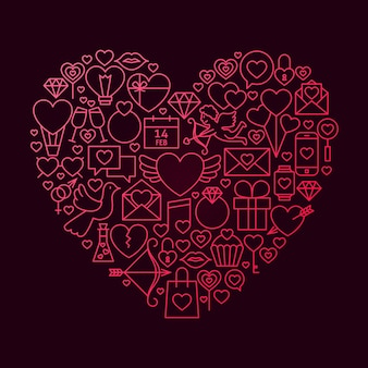 Valentine day line icon heart concept. vector illustration of love wedding objects.