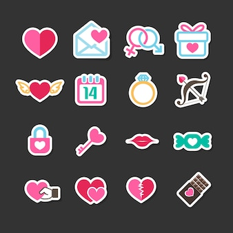 Valentine day love and wedding card decoration icons set
