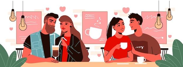 음료와 함께 카페테리아에서 데이트하는 두 커플의 인간 캐릭터와 발렌타인 데이 사랑 구성