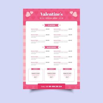 Valentine day menu template
