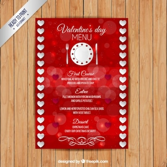 Valentine day menu with hearts