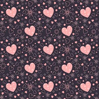 ピンクのハートとシームレスなパターンのバレンタインデー