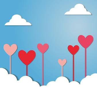 Valentine day paper heart background