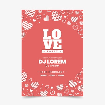 Valentine day party flyer template