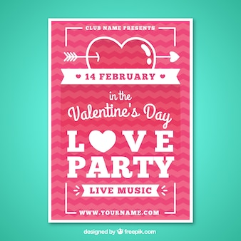 Valentine day party poster in a flat design