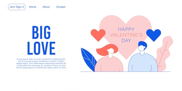 Valentine day people in love landing page design