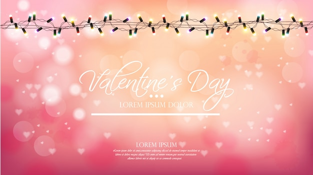 Valentine day pink background with lights