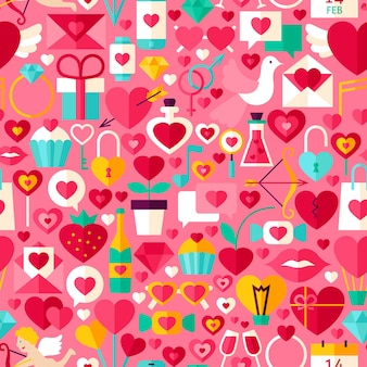 Valentine day pink seamless pattern. flat design vector tile background. love holiday.