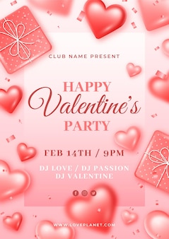 Valentine day poster template