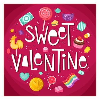 Плакат ко дню святого валентина со сладостями и конфетами, плавающими вокруг фразы sweet valentine
