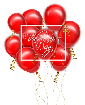 Valentine day red balloons card