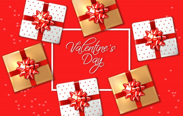 Valentine day red card with gift boxes