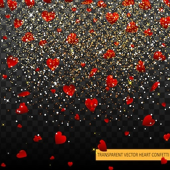 Valentine day red hearts confetti petals falling background. heart texture pattern. decor element template for valentine's designs, invitation, party, birthday, wedding