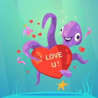Valentine day retro cartoon with cute octopus with red heart