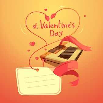 Valentine day retro cartoon with headphones in heart shape