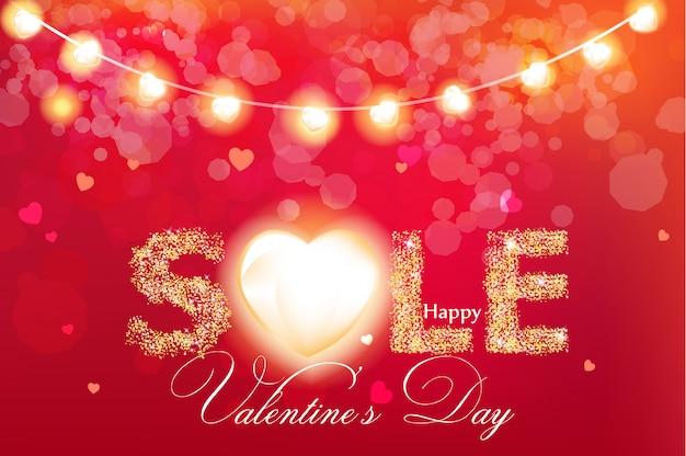 Valentine day sale banner in glitter