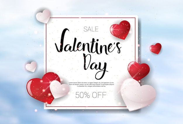 Valentine day sale concept template banner holiday discounts