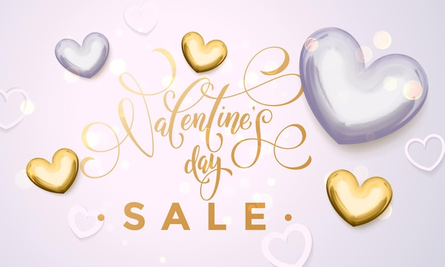 Valentine day sale golden hearts and gold luxury calligraphy text on for premium white shop