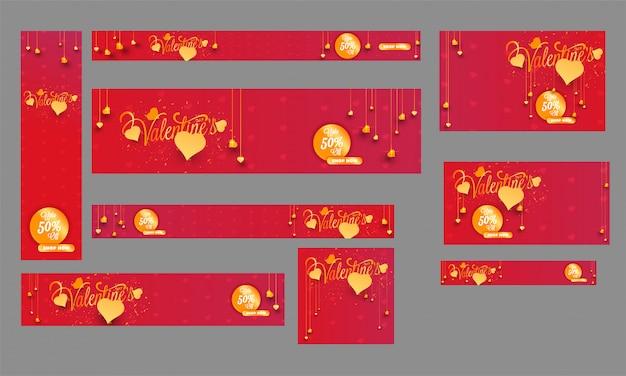 50 % d의 발렌타인 데이 세일 헤더, 배너 및 템플릿 디자인