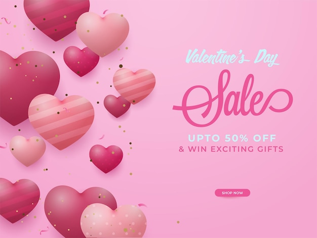 Valentine day sale poster design with discount offer and glossy hearts on pink background.