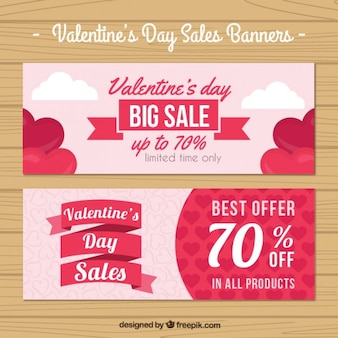 Valentine day sales banners pack Premium Vector
