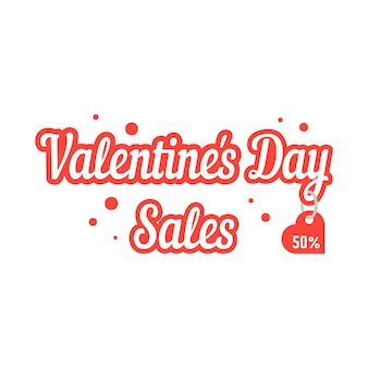 Valentine day sales with hanging label. concept of amour, e-commerce, promotional, badge, postcard, voucher. isolated on white background. flat style trend modern logo design vector illustration