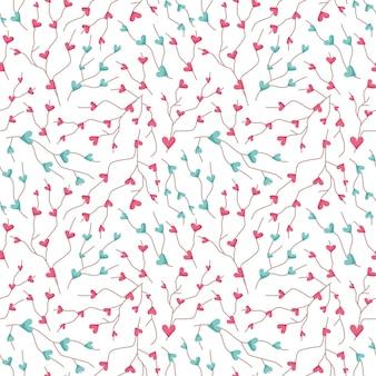 Бесшовный узор на день святого валентина - милые дети, цифровая бумага на день святого валентина розового и мятного цвета, ветки с сердечками на белом фоне для текстиля, скрапбукинга, оберточной бумаги