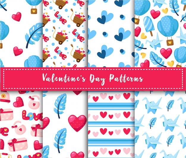 Valentine day seamless pattern set - cartoon air balloon, paper crane, feather, gift box, abstract texture