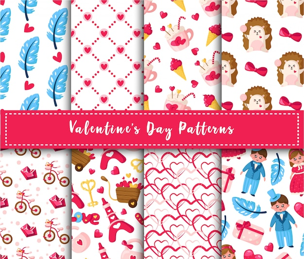Valentine day seamless pattern set - cartoon kawaii girl and boy, hedgehog, pink ice cream, hot cocoa cup