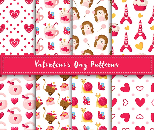 Valentine day seamless pattern set  cartoon kawaii hedgehog, cute snail, sweet cake, lock, lettering, eiffel tower