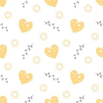 心、葉、太陽とバレンタインデーのシームレスなパターン