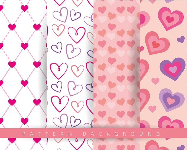 心とバレンタインデーのシームレスなパターン。