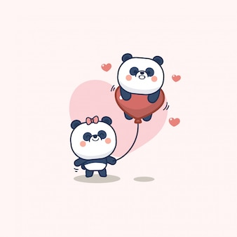 Valentine day set with cute panda with soft heart, with love you greeting card
