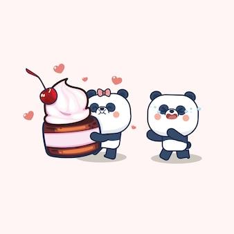 かわいいパンダ入りバレンタインデー