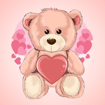 Valentine day teddy bear love heart