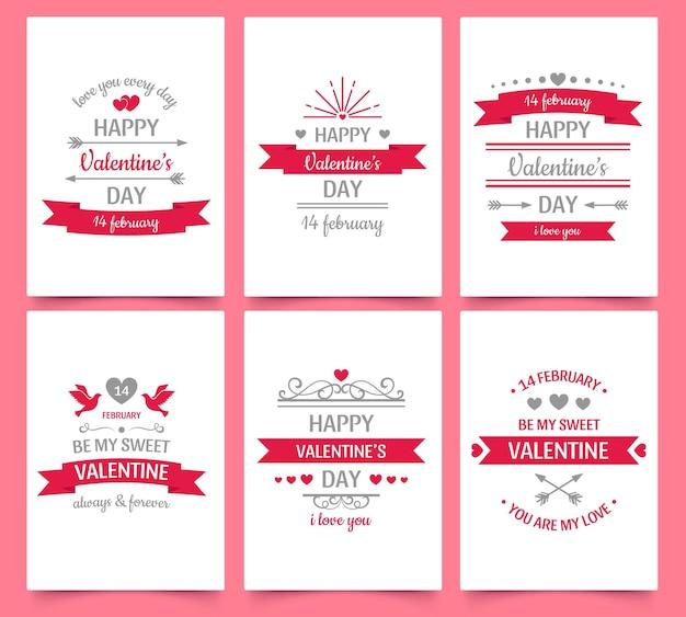 休日のお祝いのためのバレンタインデーのヴィンテージグリーティングカード。カップル、ロマンチックな願いとフレームのための愛と心のテキスト。 2月14日、私の甘いバレンタインベクトルイラストポスターセットになります