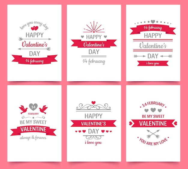 Valentine day vintage greeting card for holiday celebration. text with love and hearts for couple, romantic wishes and frame. february 14, be my sweet valentine vector illustration posters set