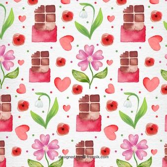 Valentine day watercoor chocolates pattern